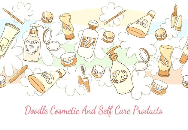 Doodle cosmetische en zelfzorgproducten hand getrokken achtergrond. lotion en shampoo, buis en poeder horizontaal naadloos patroon. hand getekend cosmetische en zelfzorgproducten vector achtergrond