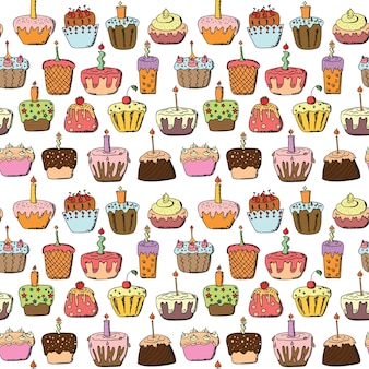 Doodle cupcake naadloze patroon achtergrond