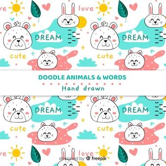 Doodle dieren en woorden patroon