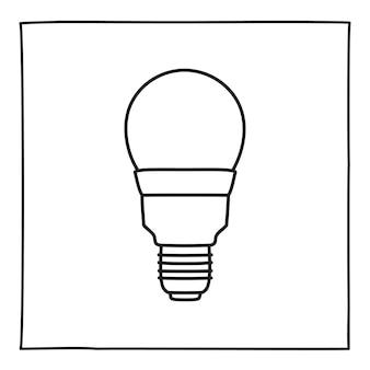 Doodle economische gloeilamp pictogram lijn kunststijl