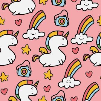 Doodle eenhoorn cartoon patroon ontwerp