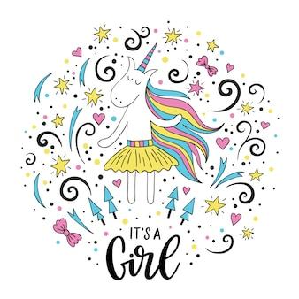 Doodle eenhoorn met it's a girl lettering