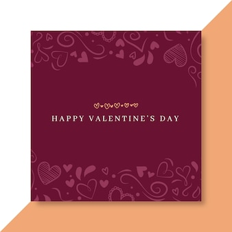 Doodle elegante valentijnsdag facebook berichtsjabloon