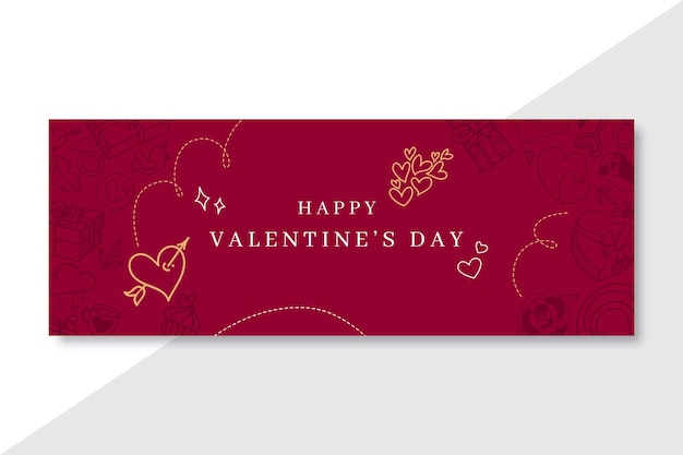 Doodle elegante valentijnsdag facebook voorbladsjabloon