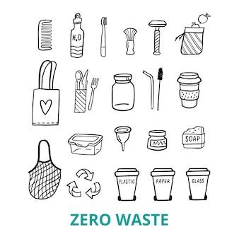 Doodle-elementen van een leven zonder afval