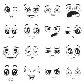 Doodle emoties set gelukkig verdrietig huilen in liefde gezichtsuitdrukkingen verrast verwarde emoji-personages