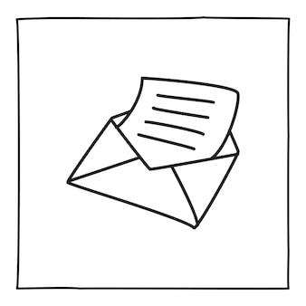 Doodle envelop briefpictogram of logo, hand getekend met dunne zwarte lijn. geïsoleerd op een witte achtergrond. vector illustratie