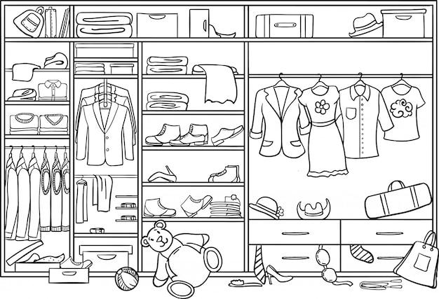 Doodle familie kledingkast puinhoop concept