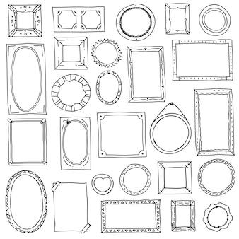 Doodle fotolijst. hand getrokken vierkante ovale fotolijsten, plakboek krabbel journaling grenzen. retro schets