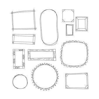 Doodle frame collectie handgetekende stijl