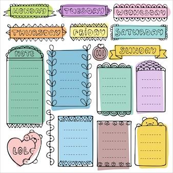 Doodle frames en elementen voor bullet journal, notebook, dagboek of planner.