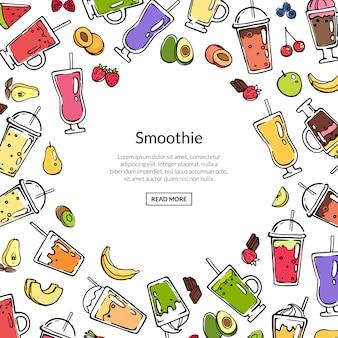 Doodle gekleurde smoothie achtergrond sjabloon