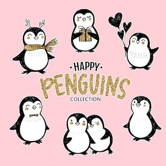 Doodle gouden pinguïns instellen. dieren karakter met ballon, hoorns, geschenkdoos in schetsstijl.
