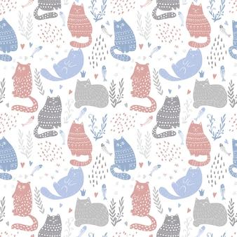 Doodle grappige katten naadloze patroonontwerp. baby- en kindertextiel en behangachtergrond. schattig huisdier verpakking en scrapbooking vector sjabloon.