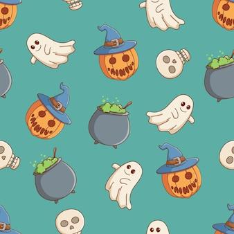 Doodle halloween-pictogrammen in naadloos patroon met halloween-pompoen witte spookketel en schedel
