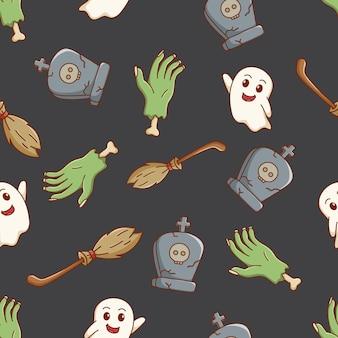 Doodle halloween pictogrammen naadloze patroon met grafsteen witte spook bezems en zombie hand
