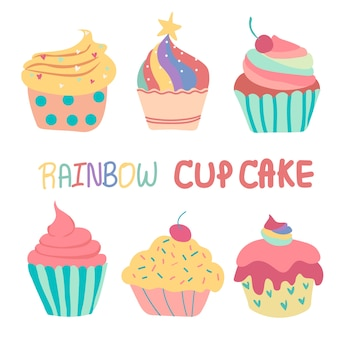 Doodle hand getekende regenboog schattige cup cake