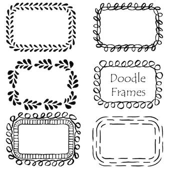 Doodle hand getrokken frames illustratie set
