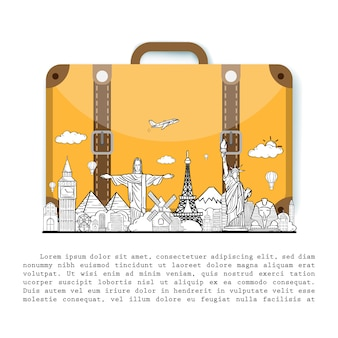 Doodle hand loting reiziger met bagage. vliegtuig check-in punt reisaccessoires over de hele wereld concept op achtergrondontwerp.