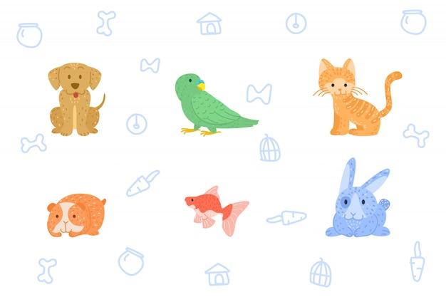 Doodle hand tekenen huisdier