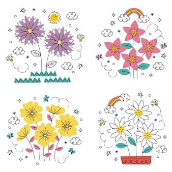 Doodle handgetekende bloemen en planten stickers set