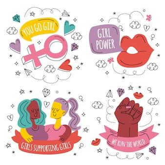 Doodle handgetekende girl power stickers collectie