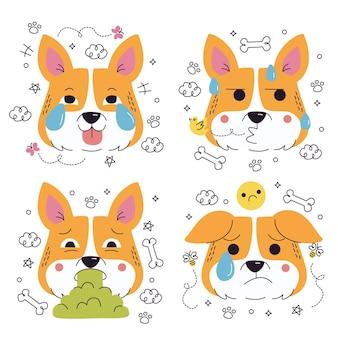 Doodle handgetekende hond emoticons stickers collectie
