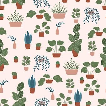 Doodle handgetekende planten in potten en vazen op pastelroze.