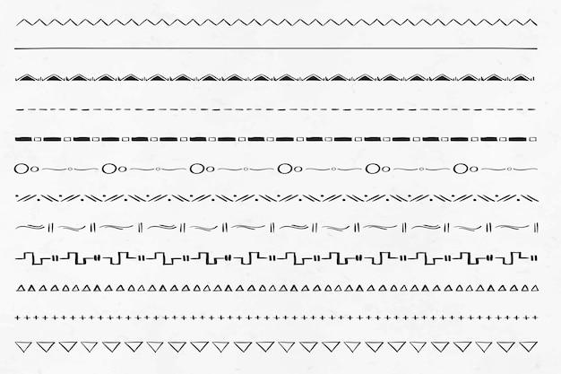 Doodle handgetekende scheidingslijn boho stijlenset