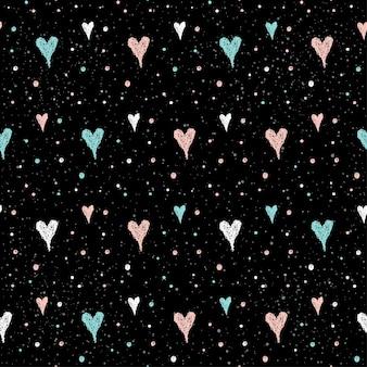 Doodle hart naadloze patroon achtergrond. hand getekende hart geïsoleerd op zwart voor ontwerp kaart, textiel, vakantie inpakpapier, kledingstuk, t-shirt, banner, plakkaat, boek, plakboek.