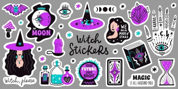 Doodle hekserij magische stickers. occulte magische hand, heks mystiek symbool, hekserij hand getrokken armen met maan en kristal illustratie iconen set. spirituele hekserij, mystieke esoterische elementen.