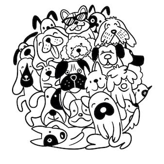Doodle honden lijntekeningen voor het kleuren van boekillustraties