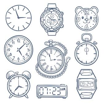 Doodle horloge, klok vector iconen. hand getrokken tijd vector iconen geïsoleerd. klok en weergavetijd, illustratie van alarmtekening, doodle-chronometer