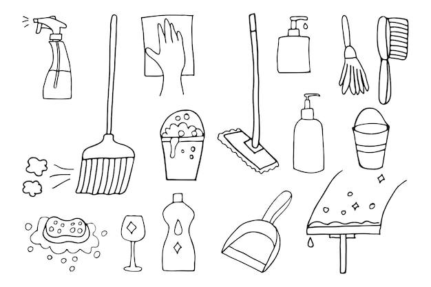 Doodle huis schoonmaken gebruiksvoorwerpen pictogrammen instellen in vector. handgetekende pictogrammen voor huishoudelijke schoonmaakmiddelen