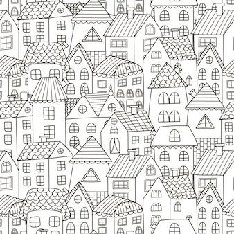 Doodle huizen naadloos patroon
