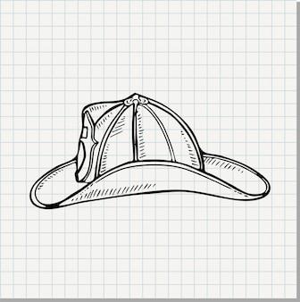 Doodle illustratie van een brandweerman helm