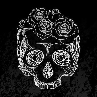 Doodle illustratie van een menselijke schedel met rozen. krijt op een schoolbord