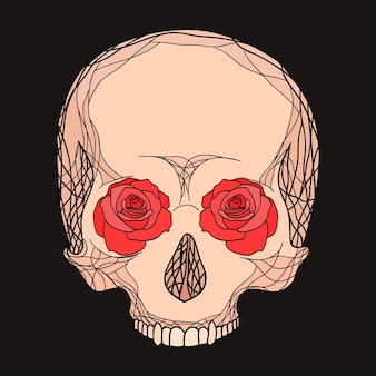 Doodle illustratie van een menselijke schedel met rozen voor uw creativ