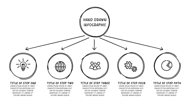 Doodle infographic cirkel met 5 stappen. hand getrokken pictogrammen. dunne lijn illustratie.