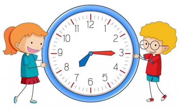 Doodle jongen en meisje met klok