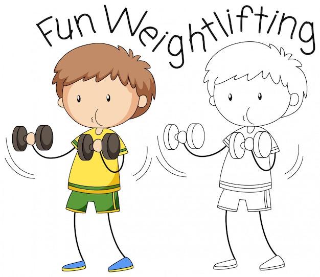 Doodle jongen gewichtheffen karakter