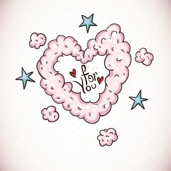 Doodle kaart valentijnsdag met hart van wolken
