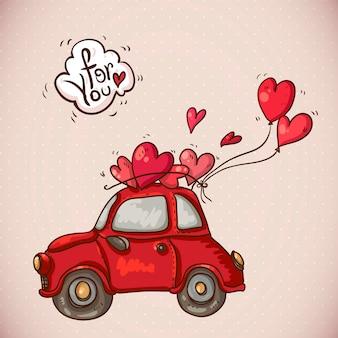 Doodle kaart valentijnsdag met rode auto