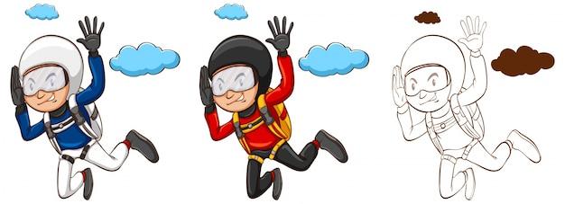 Doodle karakter voor man die parachute illustratie doet