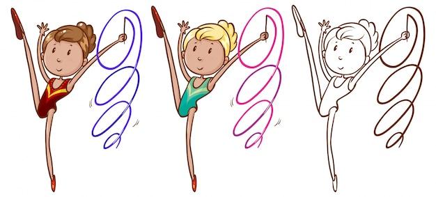 Doodle karakter voor meisje doet gymnastiek met lint