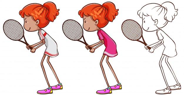 Doodle karakter voor tennisspeler