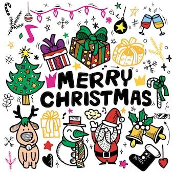 Doodle kerst achtergrond, freehand christmas schets doodles, hand getrokken illustratie