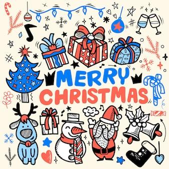 Doodle kerst achtergrond, freehand christmas schets doodles