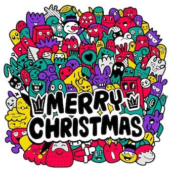Doodle kerst achtergrond, kerst doodles. hand getrokken kerst illustraties.