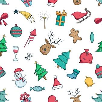 Doodle kerst iconen of elementen in naadloze patroon met doodle stijl